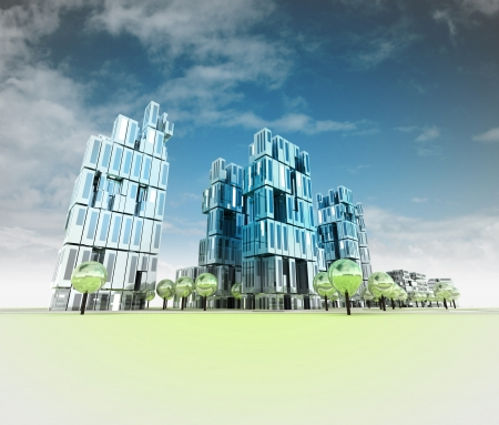 nieuwe moderne adn koele visualisatie van de stad van de toekomst met hemelillustratie