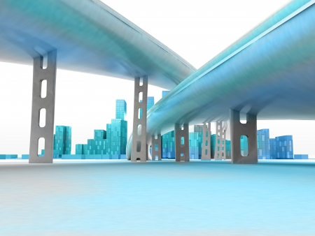 metropole: two highways leading to modern skyscraper city render illustration Stock Photo