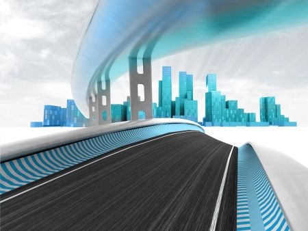 metropole: race motorways leading to modern city with sky flare render illustration