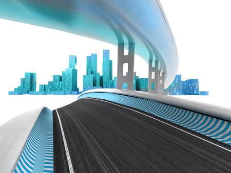 metropole: race motorways leading to modern skyscraper city on white render illustration