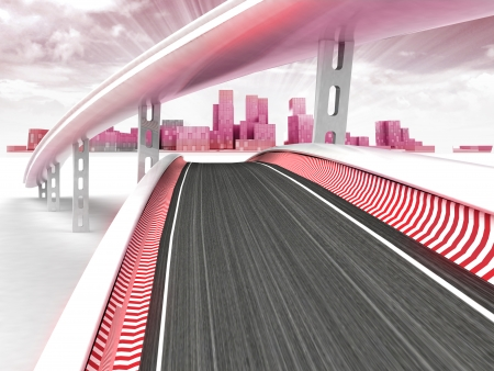 metropole: race tracks leading to modern skyscraper city with sky sunset illustration Stock Photo