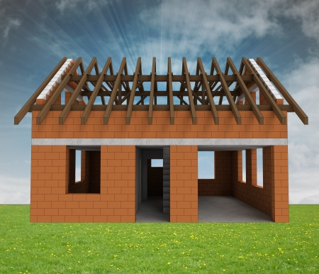 bricked house front facade in grass with sky flare illustration  Stock Illustration - 24668059