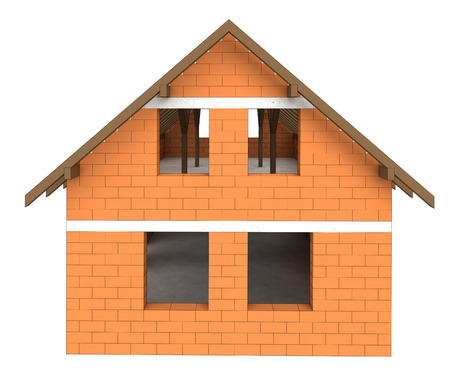 rafter: isolated bricked house facade construction illustration