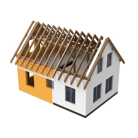 structural: isolated structural house design section transition illustration