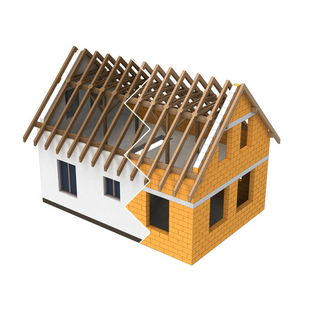 structural: isolated house structural design zigzag transition illustration