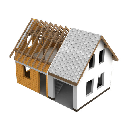 roofing: roofing construction house design transition illustration Stock Photo