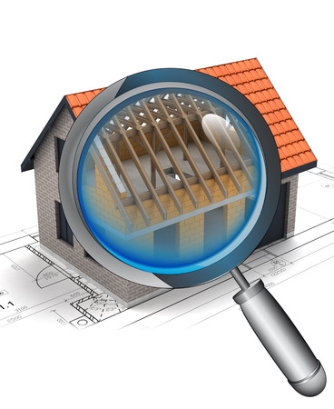 rentgen: chrome magnifying glass rentgen house construction detail illustration Stock Photo