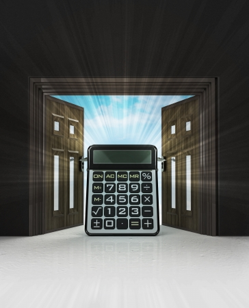 oportunity: oportunity calculation of new way in doorway space with sky flare illustration Stock Photo