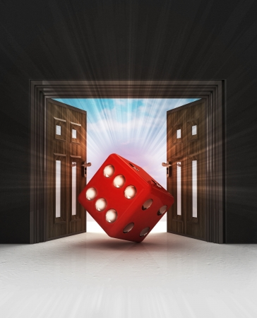 way to lucky dice through doorway space with sky flare illustration illustration