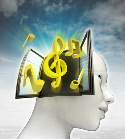 music coming out or in human head with sky background illustration illustration
