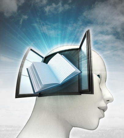 education book coming out or in human head with sky background illustration illustration