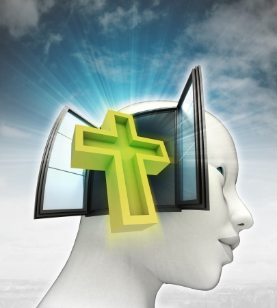 godness: holy cross religion coming out or in human head with sky background illustration