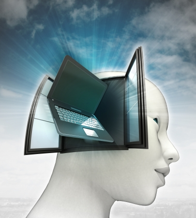 mouth screen: laptop technologies coming out or in human head with sky background illustration