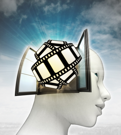 movie tape fun coming out or in human head with sky background illustration illustration
