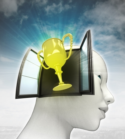 champions cup coming out or in human head with sky background illustration illustration