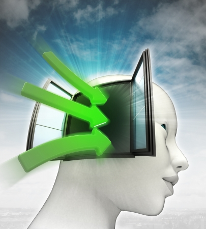 green idea arrows coming into human head thinking with sky background illustration illustration