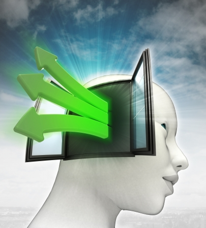 green idea arrows coming out of  human head thinking with sky background illustration illustration