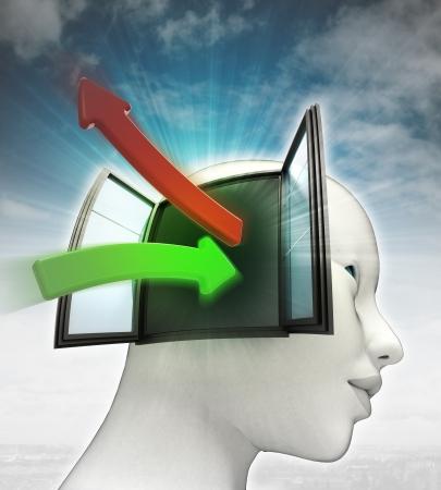 空と人間の頭に出てくる緑の赤アイデア転送矢印背景イラスト