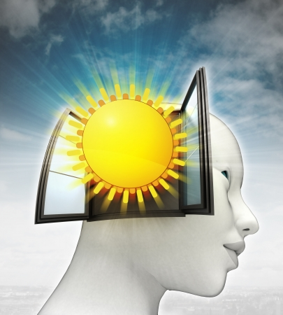 shiny summer sun coming out or in human head with sky background illustration illustration