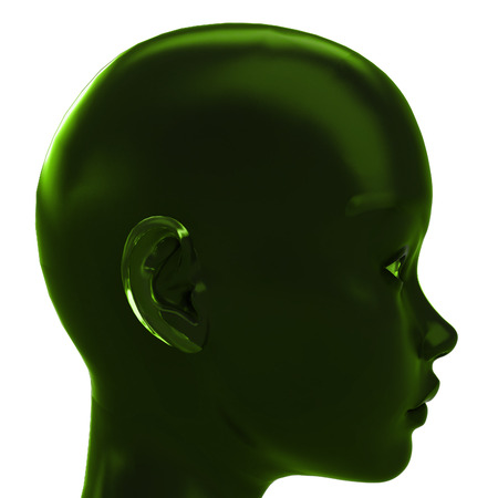 green profile view on human head with ecological ideas  illustration illustration