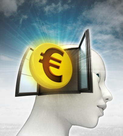 Euro coin investment coming out or in human head with sky background illustration illustration