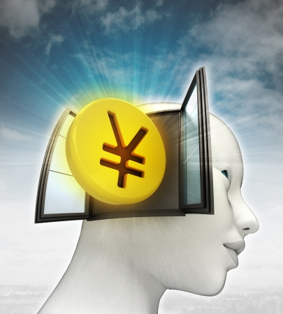 Yen coin investment coming out or in human head with sky background illustration illustration