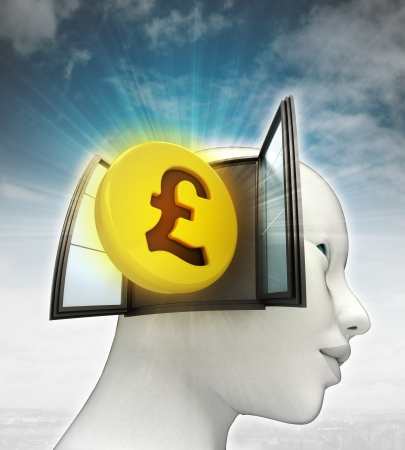 Pound coin investment coming out or in human head with sky background illustration illustration