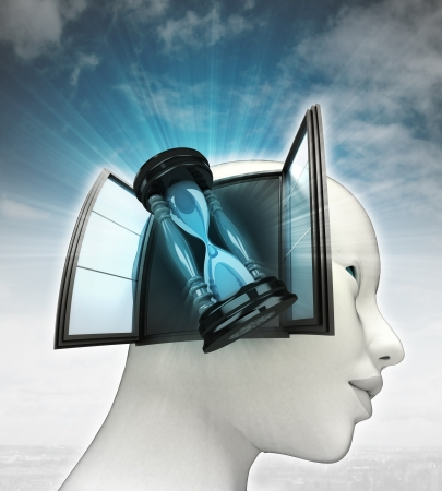 time counter coming out or in human head with sky background illustration Stock Illustration - 24667921