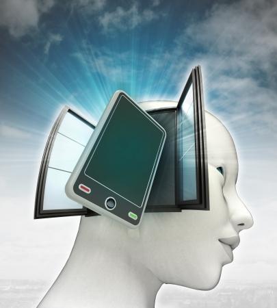 新しいスマート フォン技術または空背景イラストと人間の頭の中