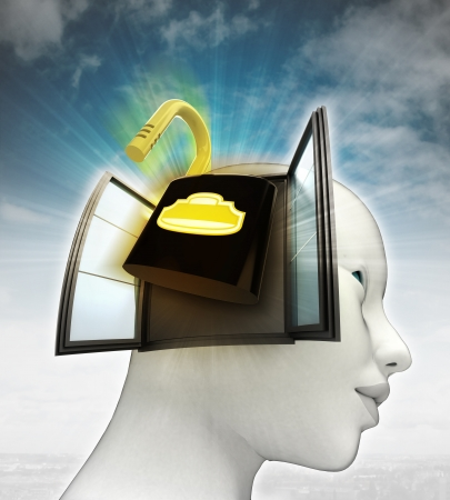 または空の背景のイラストと人間の頭の中を来てセキュリティ南京錠を開く 写真素材
