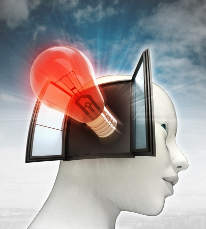 red shining bulb invention coming out or in human head with sky background illustration illustration