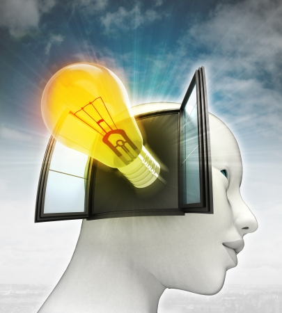 yellow shining bulb invention coming out or in human head with sky background illustration illustration