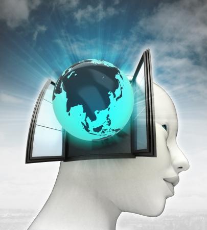 または空の背景のイラストと人間の頭の中を来てアジア グローブ 写真素材