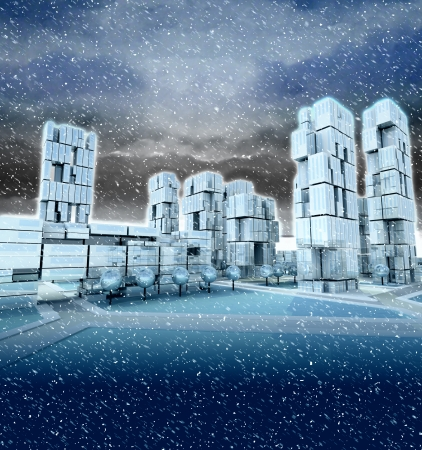 blizzard: Futuristic skyscraper city at winter blizzard illustration Stock Photo