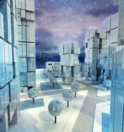 alighted: Modern blue alighted city with winter snowfall illustration