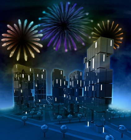 Awesome colorful firework celebration over city illustration