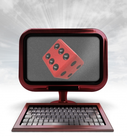 red computer with lucky cube with background flare illustration illustration