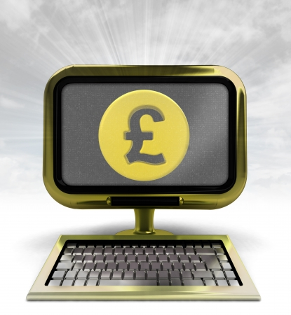golden computer with Pound coin with background flare illustration illustration