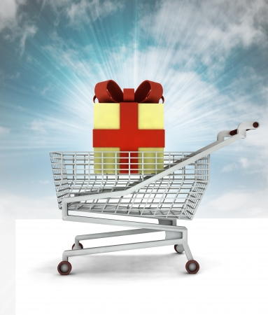 bought: bought of gift cake in shopping cart with sky illustration Stock Photo