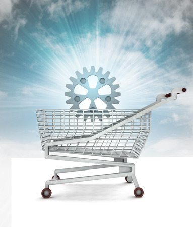spare part: bought spare part in shopping cart with sky illustration