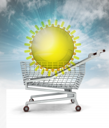 bought: bought holiday trip in shopping cart with sky illustration