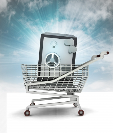 bought: bought wealth in shopping cart with sky illustration