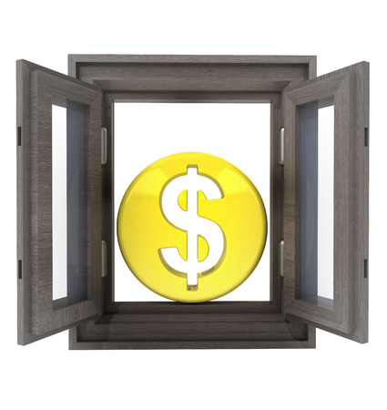 timbered: isolated opened window to financial american business  illustration