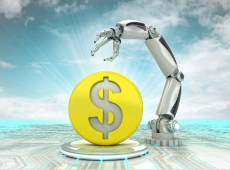 Dollar coin investment to robotic hand use in modern industries with cloudy sky illustration illustration