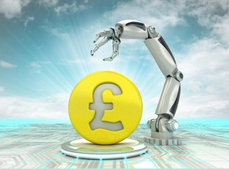 Pound coin investment to robotic hand use in modern industries with cloudy sky illustration illustration
