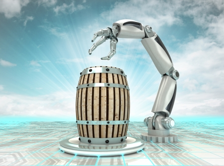 robotic hand creation of new kind of beverage with cloudy sky illustration illustration