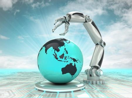 흐린 하늘 일러스트와 함께 아시아 국가에서 로봇 손 만들기 미래 산업