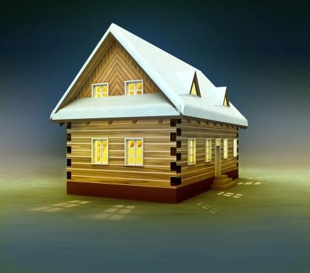alighted: Idyllic cottage window lighting at night illustration Stock Photo