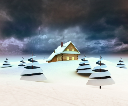 Mountain cottage in winter landscape dark sky evening illustration illustration