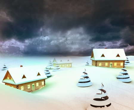 Mountain village resort dark sky evening illustration illustration